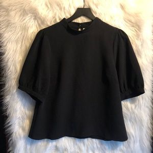 Maeve by Anthropologie Black Crepe Blouse Size 12